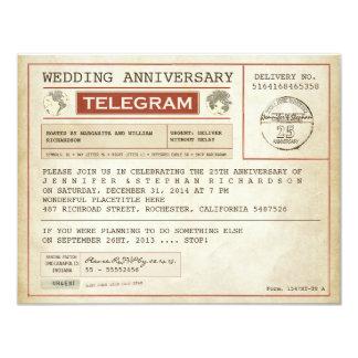 invitación del telegrama del aniversario de boda