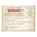 invitación del telegrama del cumpleaños del