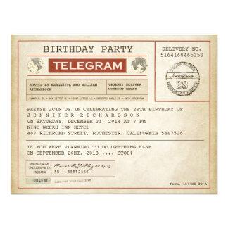 invitación del telegrama del cumpleaños del vintag