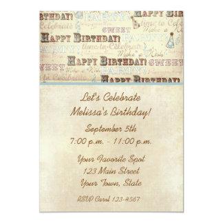 Invitación del texto del cumpleaños