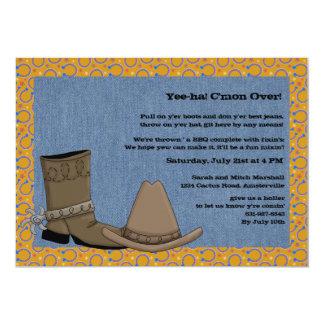 Invitación del vaquero del dril de algodón