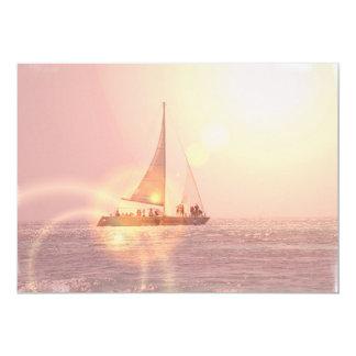 Invitación del velero de la puesta del sol