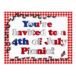 Invitación del verano para la 4ta del Bbq de julio Tarjeta Postal