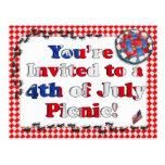 Invitación del verano para la 4ta del Bbq de julio Postal