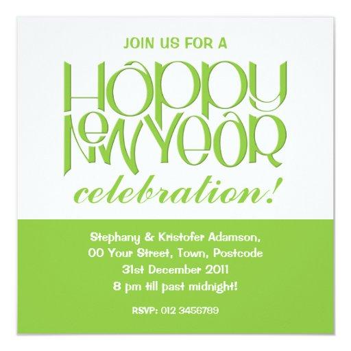 Invitación del verde de la Feliz Año Nuevo