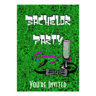 Invitación del verde del fiesta de macho del solte