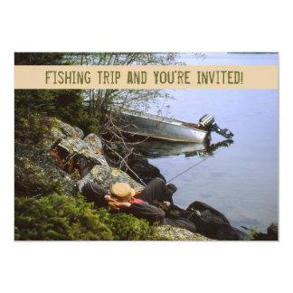 Invitación del viaje de pesca del Riverbank del