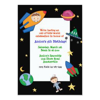 Invitación del viaje espacial invitación 12,7 x 17,8 cm