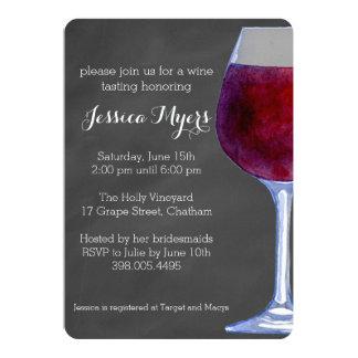Invitación del vino de la pizarra invitación 12,7 x 17,8 cm