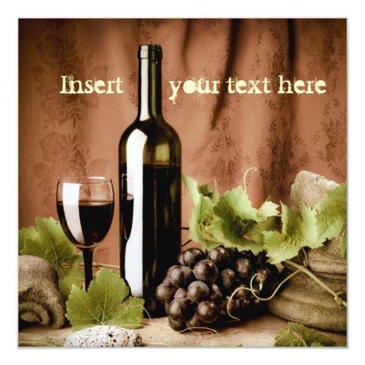 Invitación del vino rojo