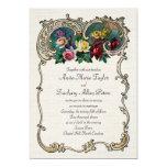 Invitación del vintage con el marco y los rosas