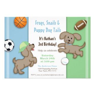 Invitación deportiva azul y verde linda del perrit