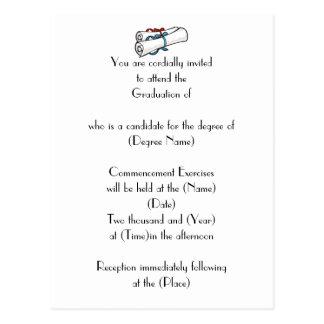 Invitación-Diplomas de encargo de la graduación Tarjetas Postales