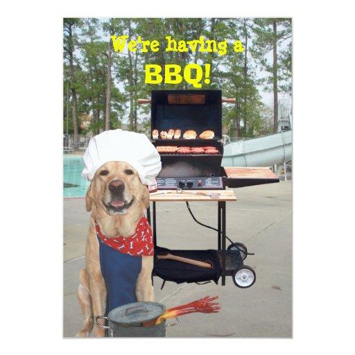 Invitación divertida del Bbq del perro del