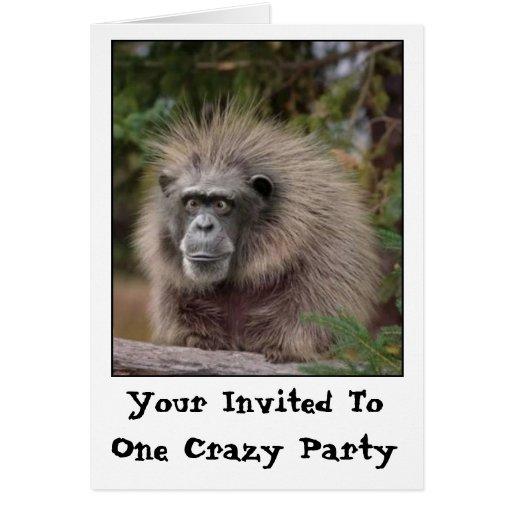 Invitación divertida del fiesta del mono tarjetón
