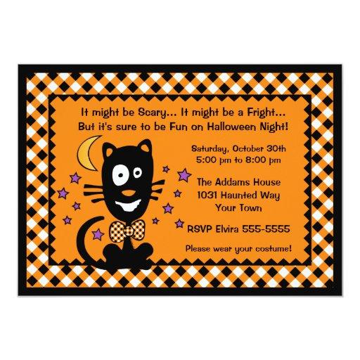 Invitación divertida del gatito de Halloween