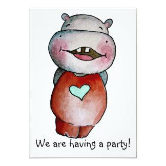 Invitación divertida del hipopótamo