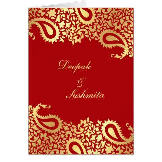 Invitación doblada boda indio elegante de Paisleys Tarjeta De Felicitación