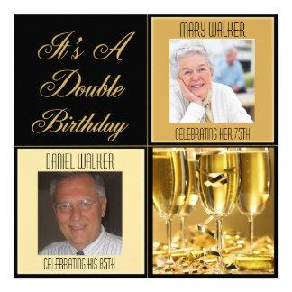 Invitación doble de la fiesta de cumpleaños para c