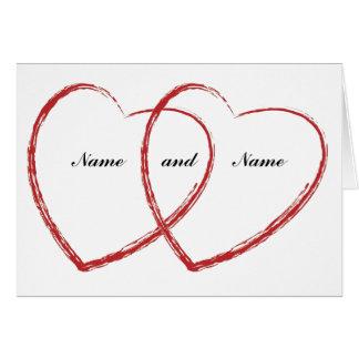 invitación doble del compromiso del corazón tarjeta de felicitación