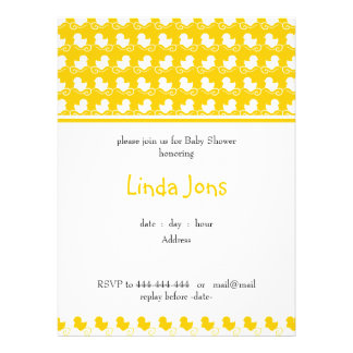 invitación ducky amarilla de la fiesta de bienveni