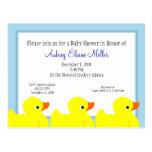 Invitación Ducky de goma azul de la ducha Tarjetas Postales