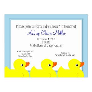 Invitación Ducky de goma azul de la ducha Tarjeta Postal