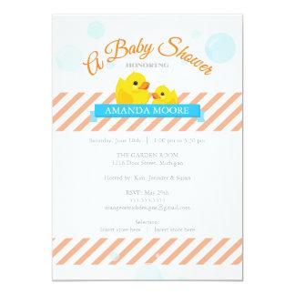 Invitación Ducky de goma de la fiesta de
