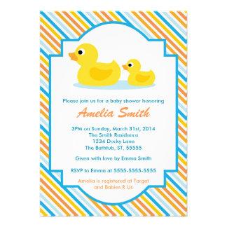 Invitación Ducky de goma de la fiesta de bienvenid
