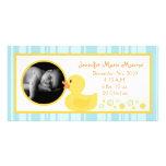 invitación Ducky de goma del nacimiento de las Tarjeta Fotografica Personalizada