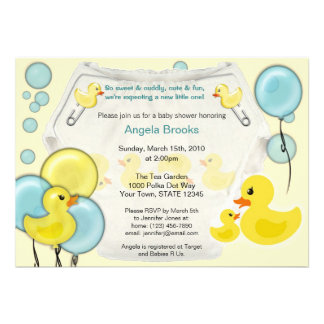 Invitación Ducky de la fiesta de bienvenida al beb