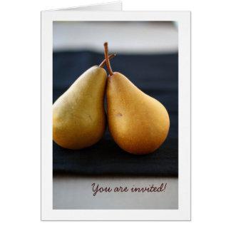 Invitación dulce de la colección de la pera tarjeta de felicitación