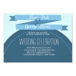 invitación dulce del boda de la cinta azul del invitación 12,7 x 17,8 cm