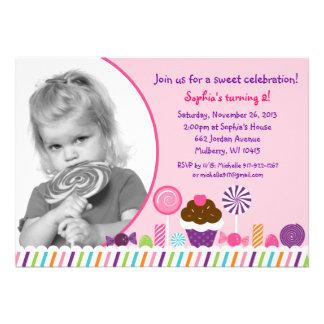 Invitación dulce del cumpleaños de la foto de los