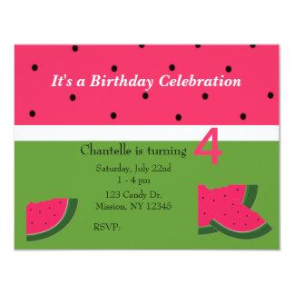 Invitación dulce del cumpleaños de la sandía