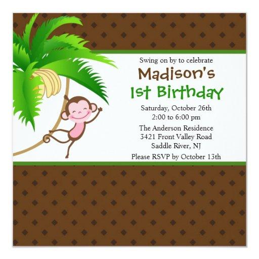 Invitación dulce del cumpleaños del mono del