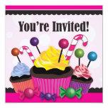 Invitación dulce del fiesta del caramelo y de la invitación 13,3 cm x 13,3cm