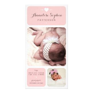 Invitación dulce del nacimiento de la niña de la tarjetas fotograficas