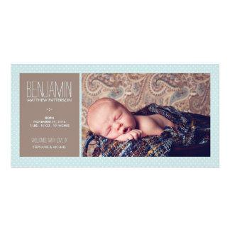 Invitación dulce del nacimiento del bebé de la fot plantilla para tarjeta de foto