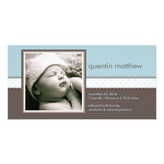 Invitación dulce del nacimiento del bebé del azul  tarjetas fotográficas