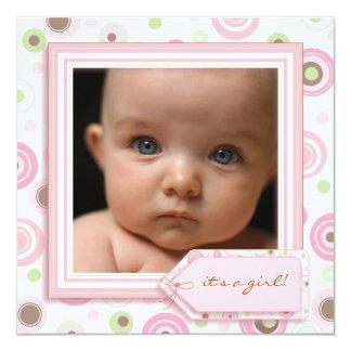 Invitación dulce rosada del nacimiento de la niña