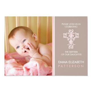Invitación dulce y moderna de la niña del bautismo invitación 12,7 x 17,8 cm