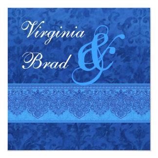 Invitación E413 del boda del damasco del azul real