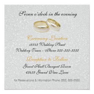 Invitación el   del boda dos damasco de plata de