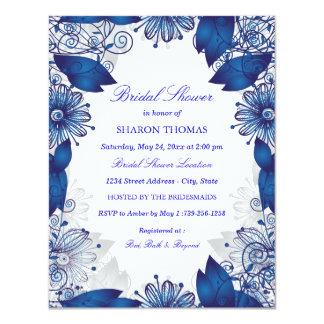 Invitación el | nupcial floral elegante azul de la