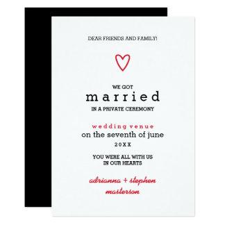 Invitación el   roja moderna mínima de la boda del