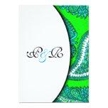 Invitación eléctrica del boda de Paisley del verde Invitación 12,7 X 17,8 Cm