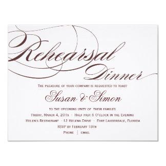 Invitación elegante 4F1819 de la cena del ensayo