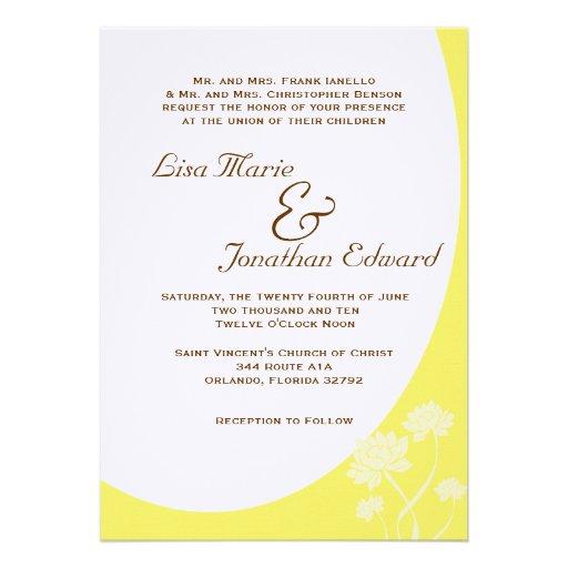 Invitación elegante 5 x 7 del boda de la flor de L