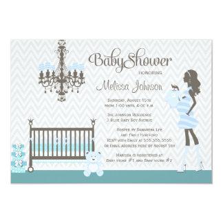 Invitación elegante azul de la ducha del bebé del